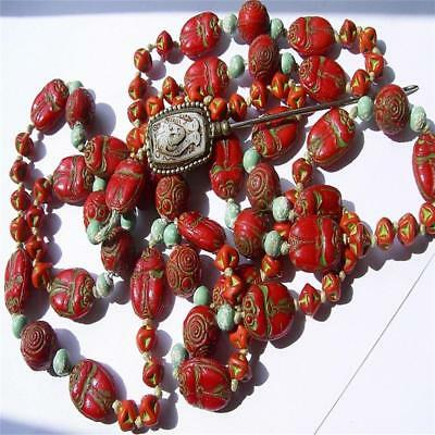 Antique Art Deco Czech Max Neiger Egyptian Revival Bead Necklace And Pin