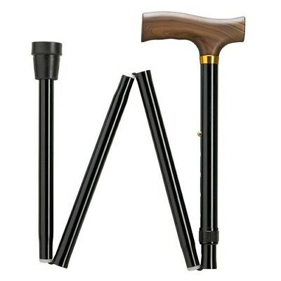 Harvy Extra Long Black Adjustable Aluminum Folding Wood Handle Cane For Tall Men