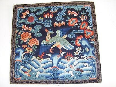 Very Fine Good Sized Antique Chinese Silk Rank Badge Panel