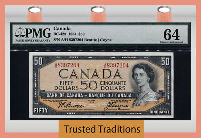 "TT BC-42a 1954 CANADA BANK OF CANADA $50 ""QUEEN ELIZABETH II"" PMG 64 CHOICE UNC!"