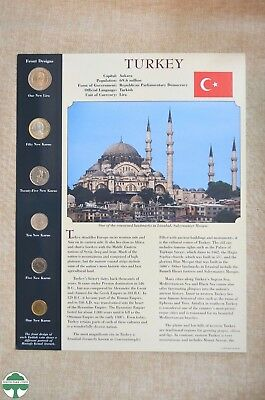 Turkey Uncirculated Coin Set - Lira Coins - Informative Packaging - 6 Coins