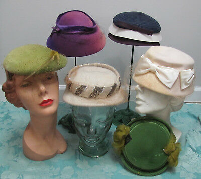 MILLINER'S LOT 6) VTG 1950s HATS Feathers-Sequins-Straw + BONUS CORSAGES Re-Work