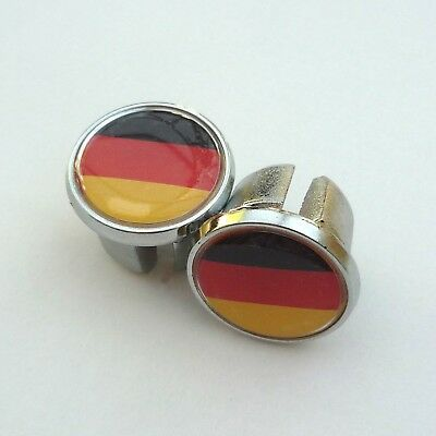 Retro Style, Germany Flag, German, Chrome Racing Bar Plugs, Caps, Repro