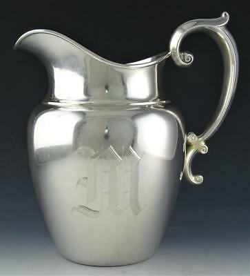 Beautiful Antique Gorham Sterling Silver Scroll Handled 4 1/2 Pint Water Pitcher