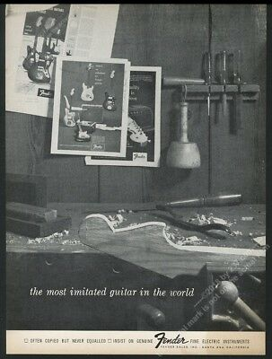 1964 Fender guitar being made photo vintage print ad
