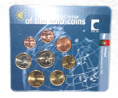 """Portugal 2002  --  Sonder - Kms   """" First Official Issue Of The Euro Coins  """""""