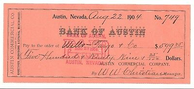 1904 Ghost Town check Bank of Austin, Nevada $599.25 Wells Fargo