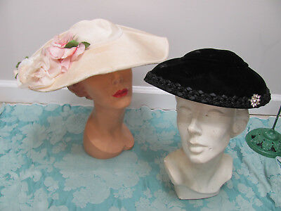 LOT-2) VTG 50s *SUMMER GARDEN PARTY Wide-Brim CARTWHEEL HAT w/GORGEOUS ROSES $NR