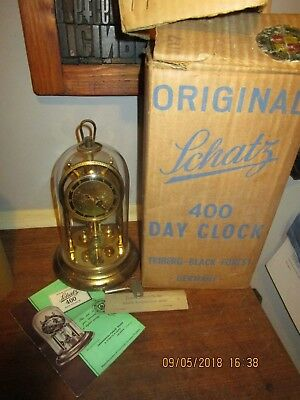 Vintage boxed Schatz 400 Day dome clock.with all packing pieces / spare wire etc