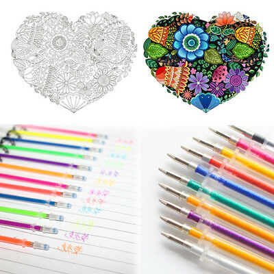 48Colors Gel Ink Pens Refills Glitter Drawing/ Painting Craft Markers Stationery