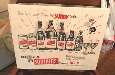 Vintage Sunshine Beer Sign W/ Flat Top Cone Top And Bottle Adv Sign Reading Pa