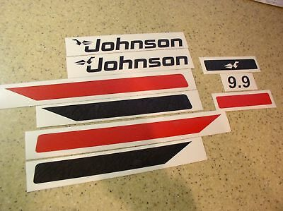 Johnson Vintage 9.9 HP Outboard Motor Decals FREE SHIP + Free Fish Decal!