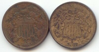 Pair of 2 Cent Pieces, 1865, 1867, Both F-VF Details, True Auction, No Reserve