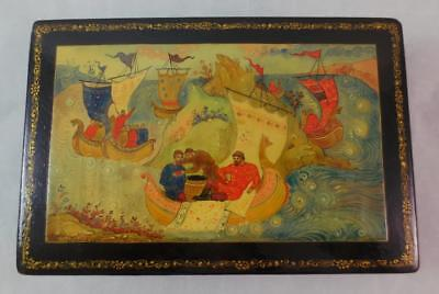 "Vintage RUSSIAN LACQUER BOX - Men in Sailing Ships - 6"" x 4"""
