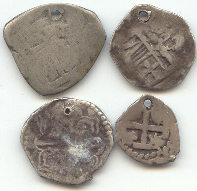 Lot of 4 1 Reale, 2 Reale, Spanish Colonial Cob Coinage, Holed, Unknown Mints