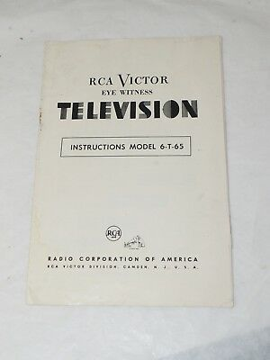 1950 RCA VICTOR EYE WITNESS TELEVISION Instructions Model 6-T-65 THE GOLDEN THRO