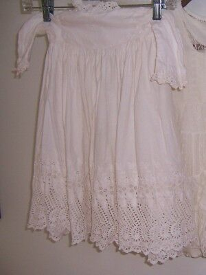 Victorian Baby Christening Dress Gown Hand Made Lace Cotton Great Cond White
