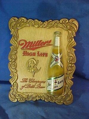 Orig 1952 MILLER HIGH LIFE Advertising BEER SIGN Molded with 1/2 BOTTLE Image