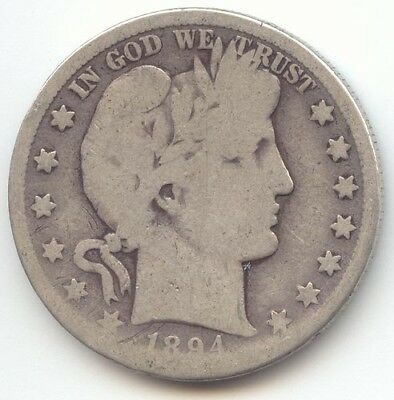 1894-S Barber Half Dollar, Problem Free AG-Good, True Auction, No Reserve