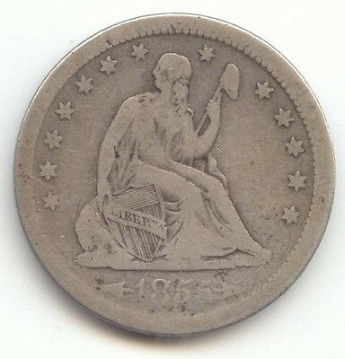 1855 Arrows Seated Liberty Quarter, Problem Free Fine, True Auction, No Reserve