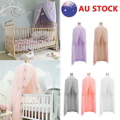 Kids Baby Bed Canopy Bedcover Mosquito Net Curtain Bedding Dome Tent Cotton AQ