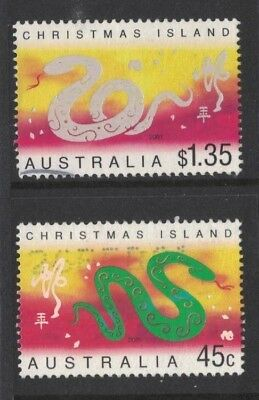 2001 Christmas Island Year of the Snake SG 487/8 fine used set 2