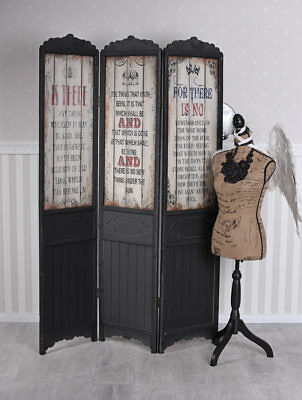 Screen Wood Partition Divider 3-pc Dressing Antique Raumtrenner Vintage Wall