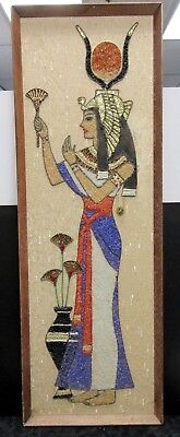 High Kitsch 1960's Isis Goddess Textile Collage Wall Art Beads + Ribbons