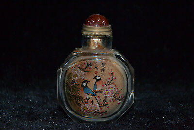Collectible old chinese Vintage glass inside paint flower bird rare Snuff Bottle