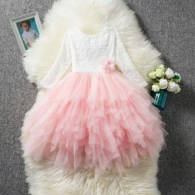 Flower Girl Dress Baby Birthday Princess Lace Tulle Tutu Party Holiday Wedding