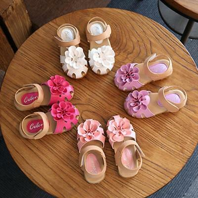 Cute Kids Girls Princess Flowers Soft Faux Leather Summer Shoes Sandals LG