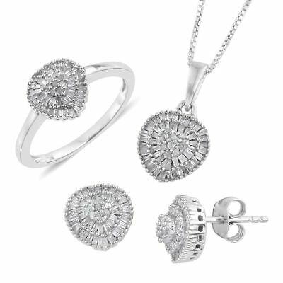 TJC White Diamond Jewellery Set In 925 Silver Ring Earrings Pendant with Chain M