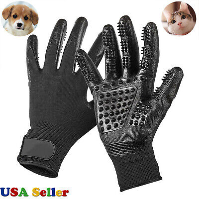 Pet Dog Cat Horse Grooming Gloves Hair Fur Remover Bathing Shedding Massage Pair