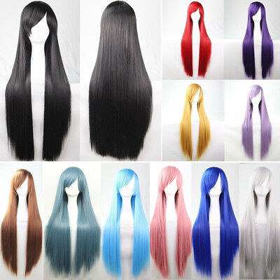 80CM Fashion Full Wig Long Straight Wig Cosplay Party Costume Anime Wigs Tool
