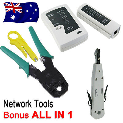 AU RJ45 Crimper CAT5 CAT6 Cable Stripper Network Tool Kit Tester Pouch Down