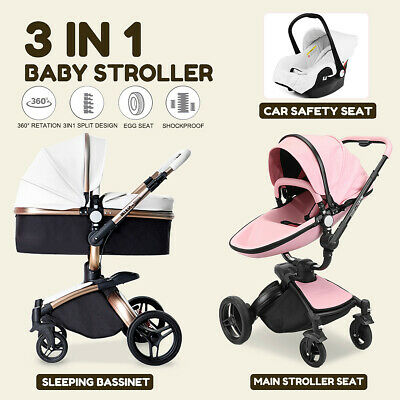 3in1 Baby Pram Newborn Car Seat Buggy Pushchair Stroller Carrycot Travel System