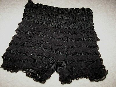 Vintage Stretch Black Ruffle Lace Pinup Women's Bloomers Underwear Panties
