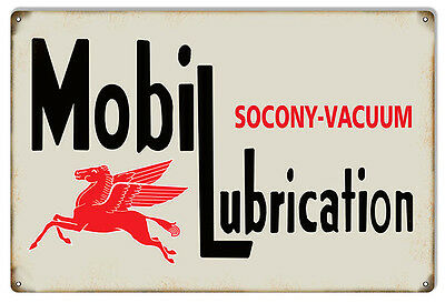 Large Socony Vacuum Mobile Lubrication Motor Oil Sign 16X24