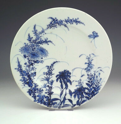 Antique Japanese Arita Porcelain - Flower & Butterfly Decorated Plate - Unusual!