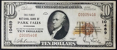 1929 $10.00 National Currency, The First National Bank of Park Falls, Wisconsin!