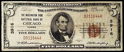 1929 $5.00 National Currency from The Washington Park National Bank of Chicago!
