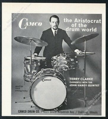 1965 Terry Clarke photo Camco drums drum set kit vintage print ad