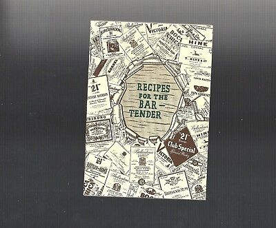 1948 Vintage Collectible 21 BRANDS Recipes for the Bartender Booklet VGC
