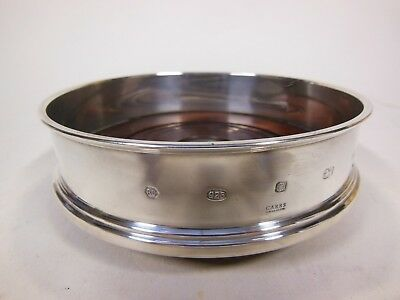 "Carrs Lustre Sterling Silver Straight Bottle Coaster 5"" Hallmarked Sheffield"