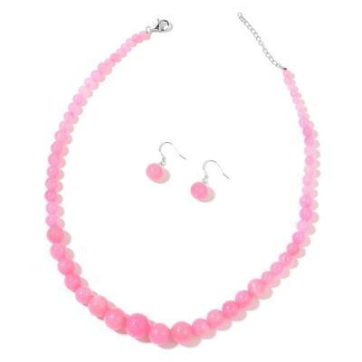 TJC Sterling Silver Earrings Necklace Jewellery Set for Women with Jade 18 In