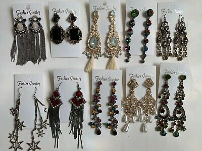 Wholesale Lot of 10 Pairs of Statement Earrings Rhinestone  New #26