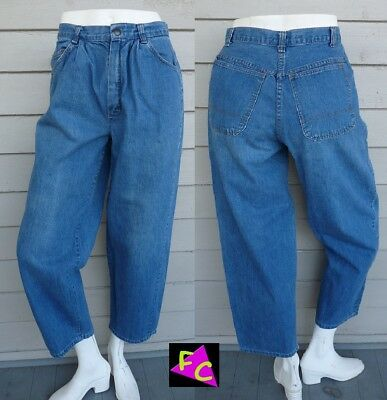 VTG 60s DARK BLUE DENIM HIGH WAIST jeans PLEATED 34 36 M TAPERED COTTON SEARS