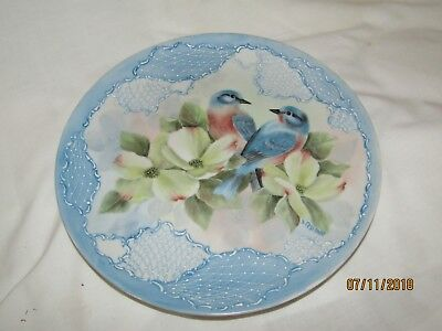Antique Hand Painted Signed Plate Birds Dogwood Flower