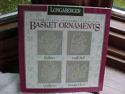 Boxed Set Of (4) Longaberger Christmas ORNAMENTS 1993-1996 Pewter Baskets MIOB