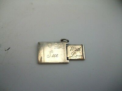 Antique Novelty Silver Envelope Charm With Insert--Marked Silver